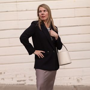 Zara oversized black double breasted blazer M